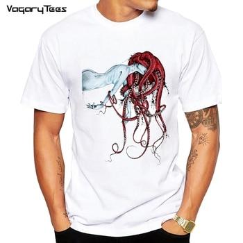 Hot Sales New Fashion Septoid design Men T-shirt Short Sleeve Geek Tops Punk Girl Octopus Hair rainbow Printed Hipster Tee - discount item  49% OFF Tops & Tees