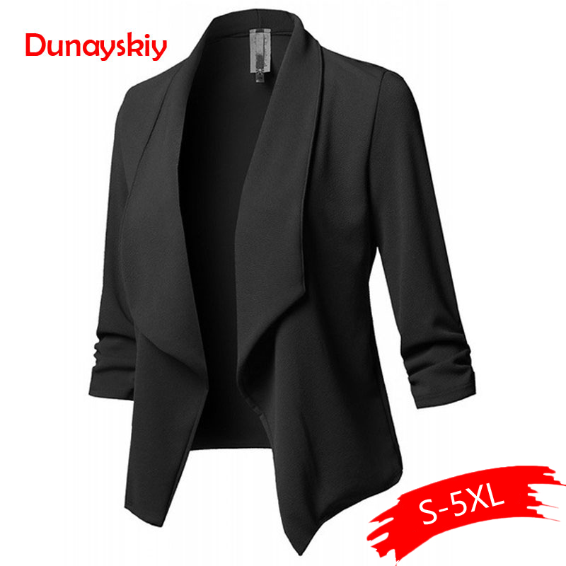 Women Solid Blazers Cardigan Coat Long Sleeve Women Blazers And Ruched Asymmetrical Casual Business Suit Outwear 2020