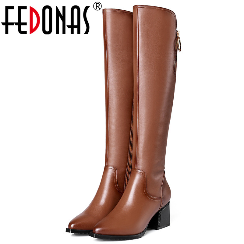 FEDONAS Fashion Women Over The Knee High Boots High Heels Genuine Leather Pointed Toe Party Shoes Woman Female Tight High Boots large size 2016 fashion genuine leather women boots thick high heels pointed toe shoes solid black over the knee boots