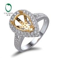 CaiMao 8x12mm Pear Cut Semi Mount Ring Setting 1 11ct Diamond 18k Gold Engagement Ring Fine