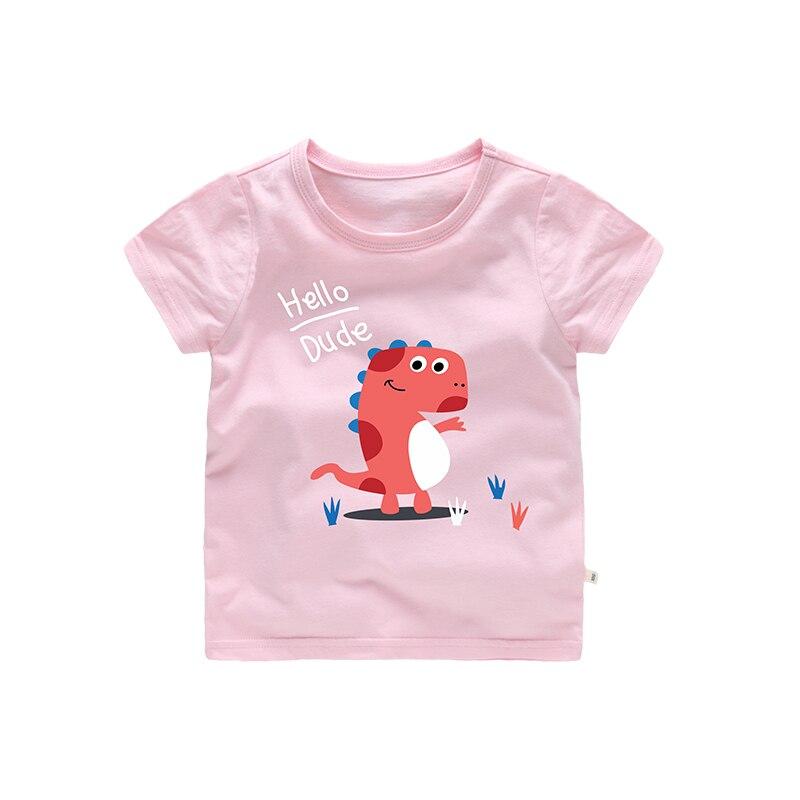 Pink Grey Hello Dude Cartoon Dinosaur tshirt kids clothes girls Boys 2-6 t size Cotton material Summer short sleeves tops
