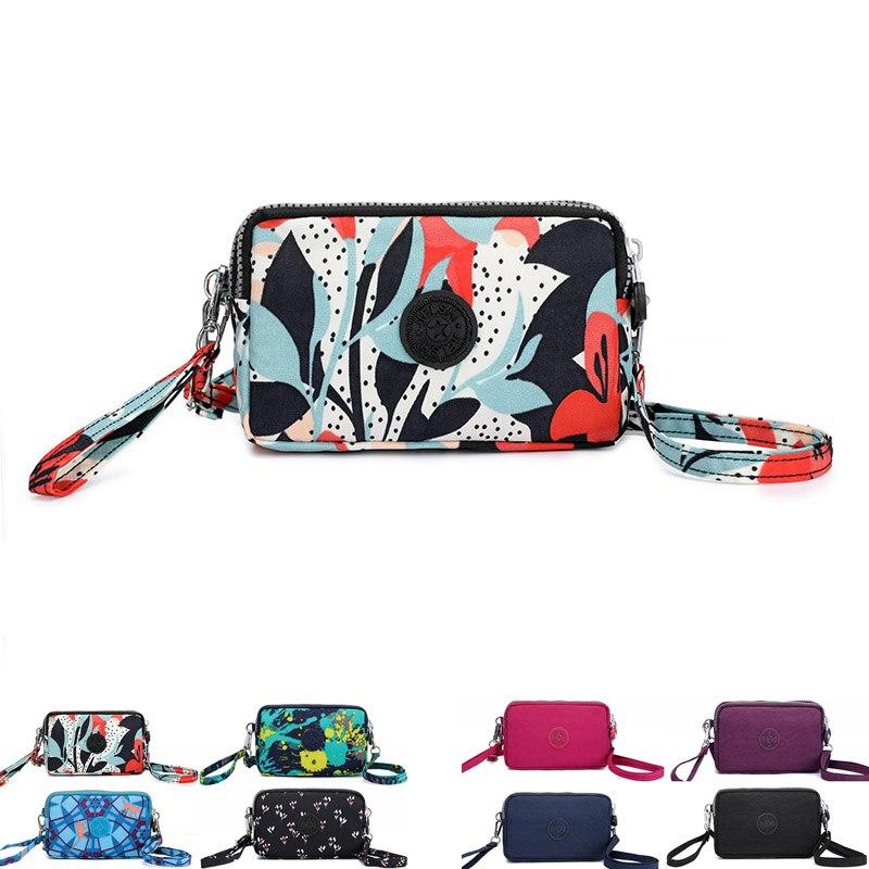 New Women Travel Wallet Girls Nylon Carteira Female Three zipper Coin Pocket Organizer Purse Cartoon Printing Wallets handbag