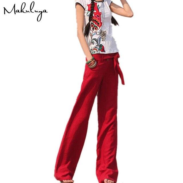 Makuluya 2017 Бесплатная брюки лучше льняные брюки свободные сплошной цвет свободные штаны Прямые повседневные женские брюки XXL красные штаны