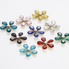 New arrival Flower shape sew on rhinestones Crystal buckle high quality glass Diy jewelry/clothing accessories 6pcs