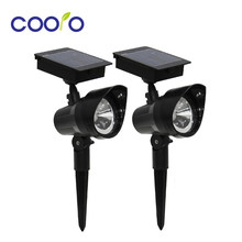 2pcs/lot LED Solar Light Spotlight Waterproof Outdoor Solar Security Wall Light Landscape Spot Lights for Yard Garden Warm White(China)