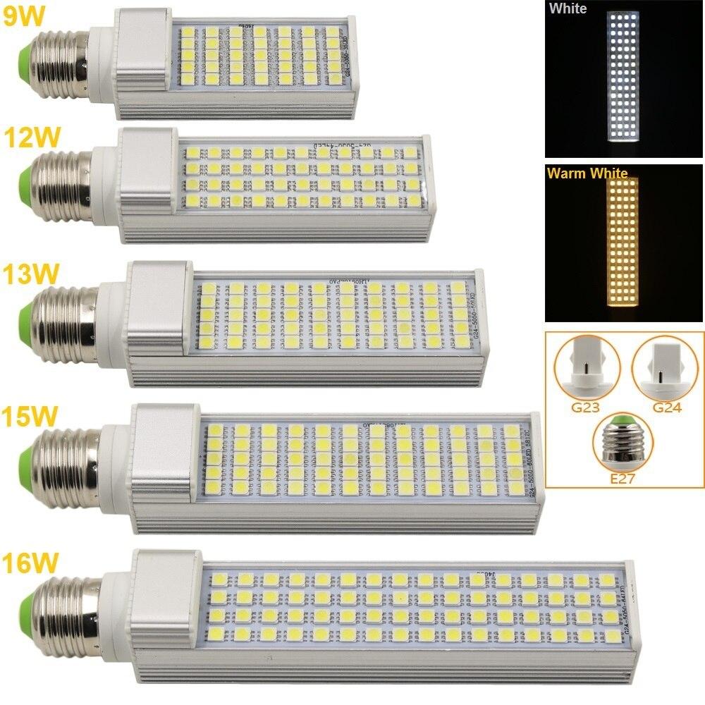 E27/G23/G24 LED Horizontal Plug Light 9W 12W 13W 15W 16W SMD5050 AC85-265V Spotlight Bulb Lamp Light For Indoor Outdoor Lighting r7s 15w 5050 smd led white light spotlight project lamp ac 85 265v