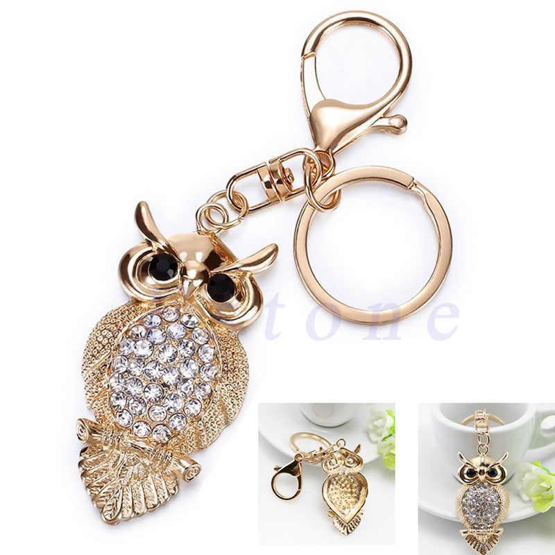 1 pieza búho cristal llavero encanto colgante bolso llavero regalo