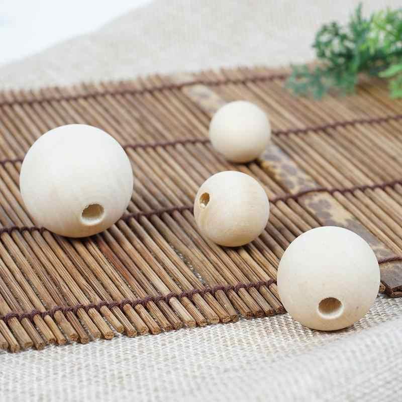 1 Pc 20 Mm/30 Mm Besar Manik-manik Kayu Alami Manik Kayu Bulat untuk Membuat Perhiasan Gelang Kalung Buatan Tangan DIY Aksesoris Dropship