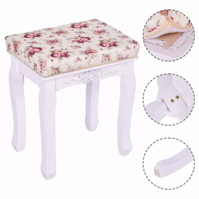 Terrific Us 34 99 Goplus Modern White Vanity Wood Dressing Stool Padded Chair Makeup Ottoman Stools Piano Seat With Cushion New Hb84672 On Aliexpress Andrewgaddart Wooden Chair Designs For Living Room Andrewgaddartcom