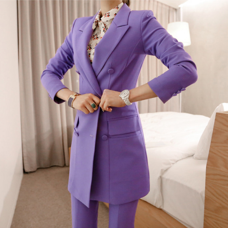 BGTEEVER Fashion Purple Women Pant Suit Double Breasted Long Blazer Jacket And Straight Pant Work Business 2 Pieces Set 2018