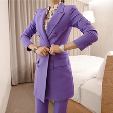 BGTEEVER Fashion Purple Women Pant Suit Double Breasted Long Blazer Jacket and S