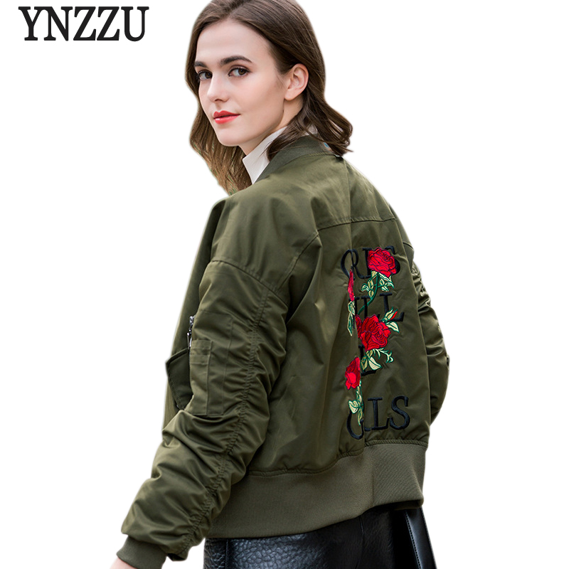 YNZZU Floral Embroidery Women Bomber Jacket 2017 New Autumn Winter Short Casual Duck Down Coats Womens Down Jackets YO388 women s embroidery bomber jacket 2017 autumn high quality floral printed jacquard black