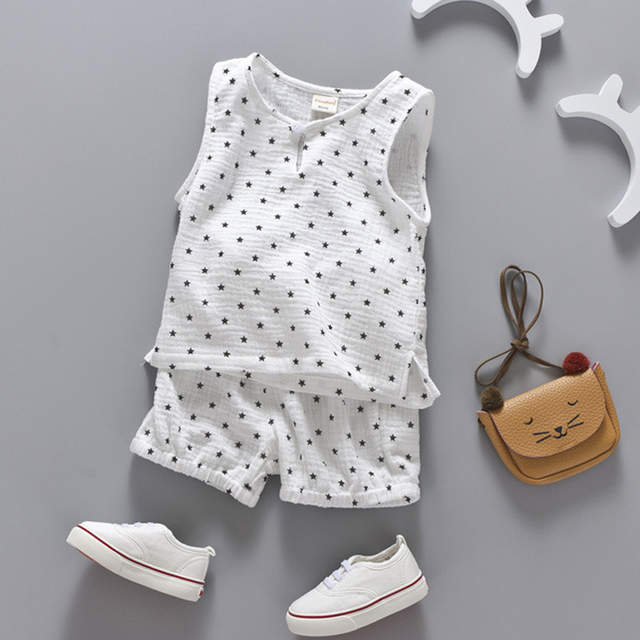 1b1f473feb7 Cotton Linen Boys Girls Suit Summer Sleeveless Vest Shorts 2pcs Suit  Children Set 2018 Clothing Kids