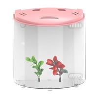 5L USB LED Fish Tank Half Moon Mini Aquarium Acrylic Capacity DC 5V Aquariums with LED Light Durable Aquatic Pet Supplies