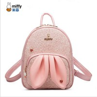 Miffy Autumn Fashion Embroidery Rabbit Ear Badge Backpack Bling PU Leather Sequins Women Daily Backpack Girls