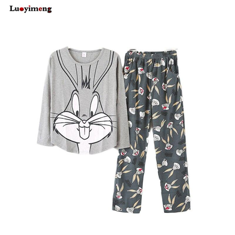 New Autumn Sleepwear   Pajamas     Set   Girls Cartoon Pyjamas Suit Homewear Night Clothes Women Pijamas   Sets   Feminino Casual Night Suit
