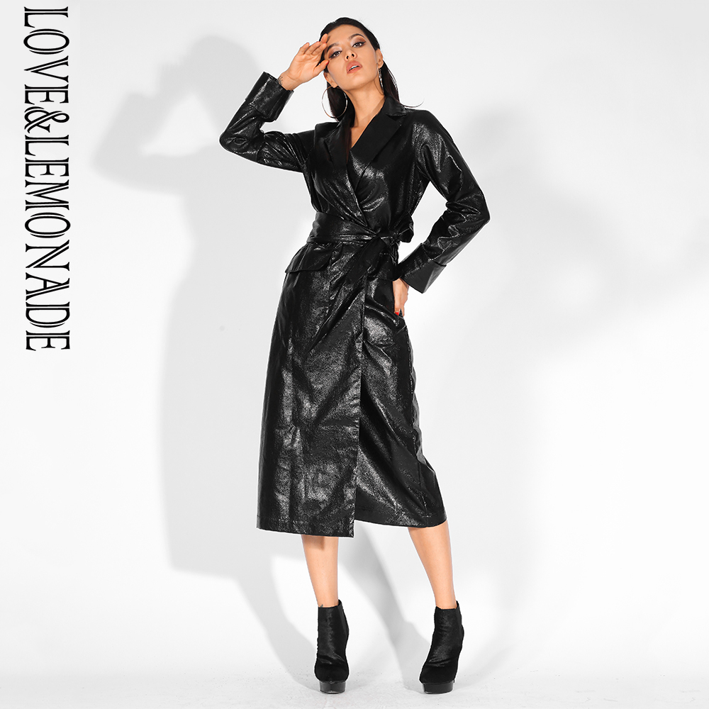 Love&Lemonade Black Lapels Loose Long Sleeves Reflective PU Material Coat (With Belt) LM81451BLACK-in Leather Jackets from Women's Clothing    1