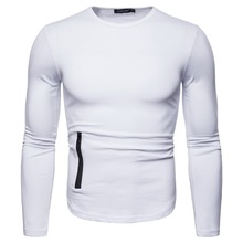 MarKyi good quality Eu size solid long sleeve t-shirts men breathable fitness gyms compression tshirt