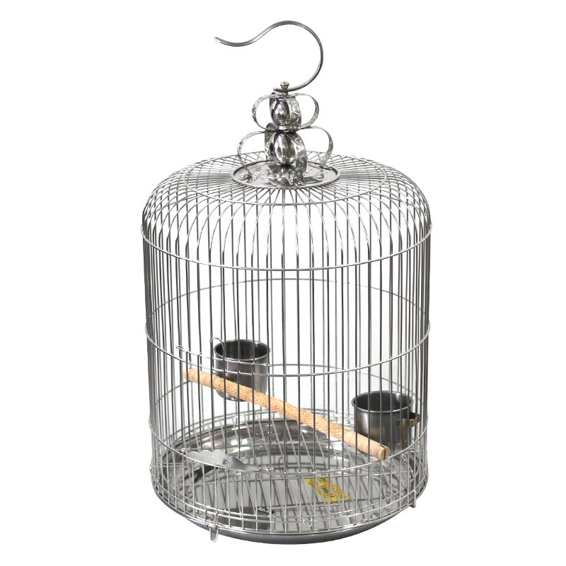 Acier inoxydable Décoratif Oiseau Cage Étourneau Perroquet Grande Cage à Oiseaux Ronde Bien-fait Belle Grand Espace Forte Durable