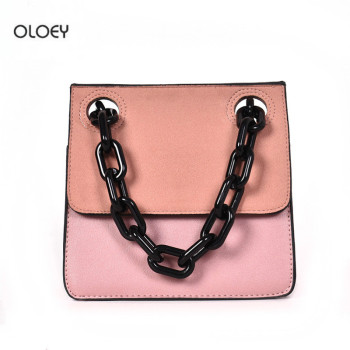 OLOEY Fashion Scrub Leather Women's Bags Personalized thick chain decorative shoulder messenger bag Multi-layer small square bag