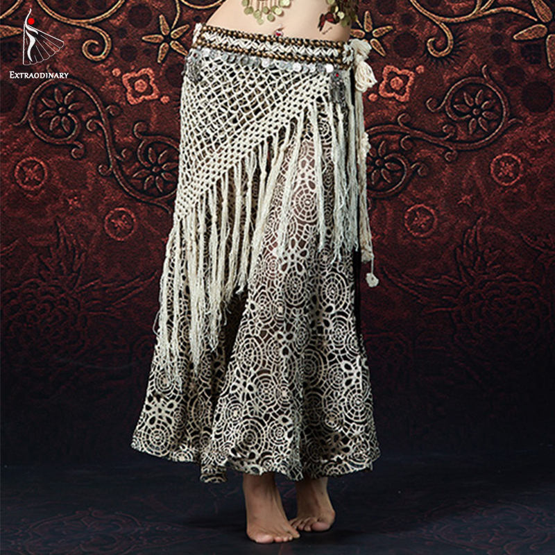 Women Belly Dance Long Fringe Hip Scarf Bellydancing Beads Belts Gypsy Costume Accessories