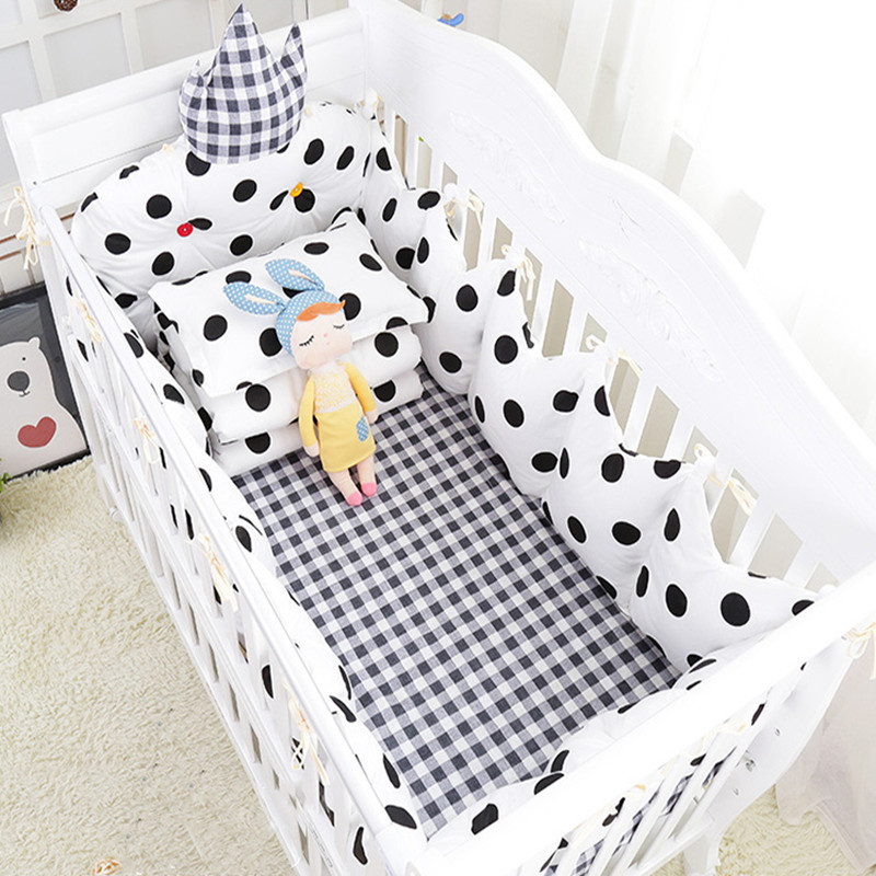 Cartoon Cotton 5Pcs/Set Baby Bed Suite Crib Bumpers And Sheet Comfortable Baby Bedding Set <font><b>6</b></font> Colors Newborns Infant Bedding Kit image