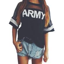 Vogue t-shirts kawaii rock harajuku army korean punk t mesh print
