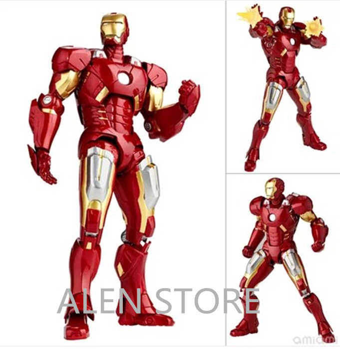 ALEN SCI-FI Revoltech Series NO. 042 Iron Man Mark VII MK 7 PVC Action Figure Collectible Model Toy sci fi revoltech series no 036 iron man mark iii mk3 no 035 mark 2 mark ii pvc action figure collectible model toy 15cm kt1789
