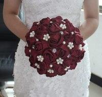 New Romantic Silk Ribbon Rose Sztuczne Bukiety Ślubne Kwiaty Bukiet Ślubny Dla Nowożeńców Z Kryształ Perły Druhna