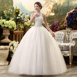 Image 2 - Fansmile 2020 Cheap Halter Lace Wedding Dress Vintage Vestidos de Novia Plus Size Bride Dress Under $100 Free Shipping FSM 040F