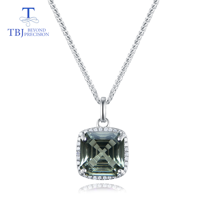 TBJ green amethyst natural gemstone oct window cuting 2019 new style 925 sterling silver fine jewelry