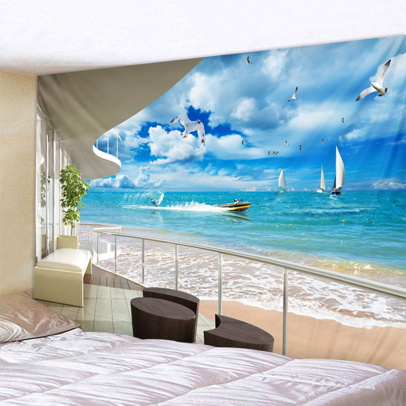 Sea View From Balcony Psychedelic Tapestry Boho Mandala Wall Hanging Royal Blue Hippie Wall Tapestry Home Decor Mint Yoga Mat