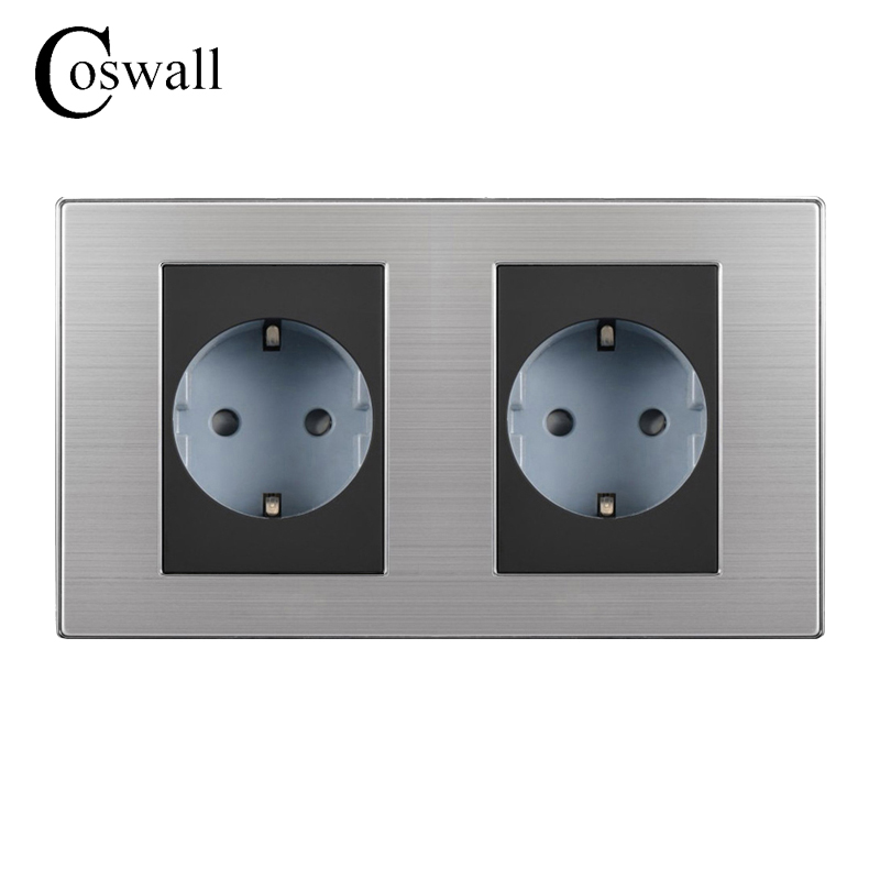 Coswall 16A EU Standard Double Outlet Luxury Wall Power Socket Enchufe Brushed Silver Panel Electrical Plug Soquete AC 110~250V ls601 silver multifuction outlet power