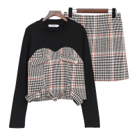 Big Size Women Clothing Sets With Skirt Autumn Winter Fashion Suit Set Woolen Plaid Plus Size