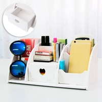 6 Compartments Large Desk Organizer Wooden Desk Makeup Organizer Storage Drawer Stationery Cosmetic Organizer Case