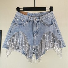 2019 Summer European Style High Quality Diamond Tassels Denim Shorts Woman Fashion High Waist Jeans Shorts