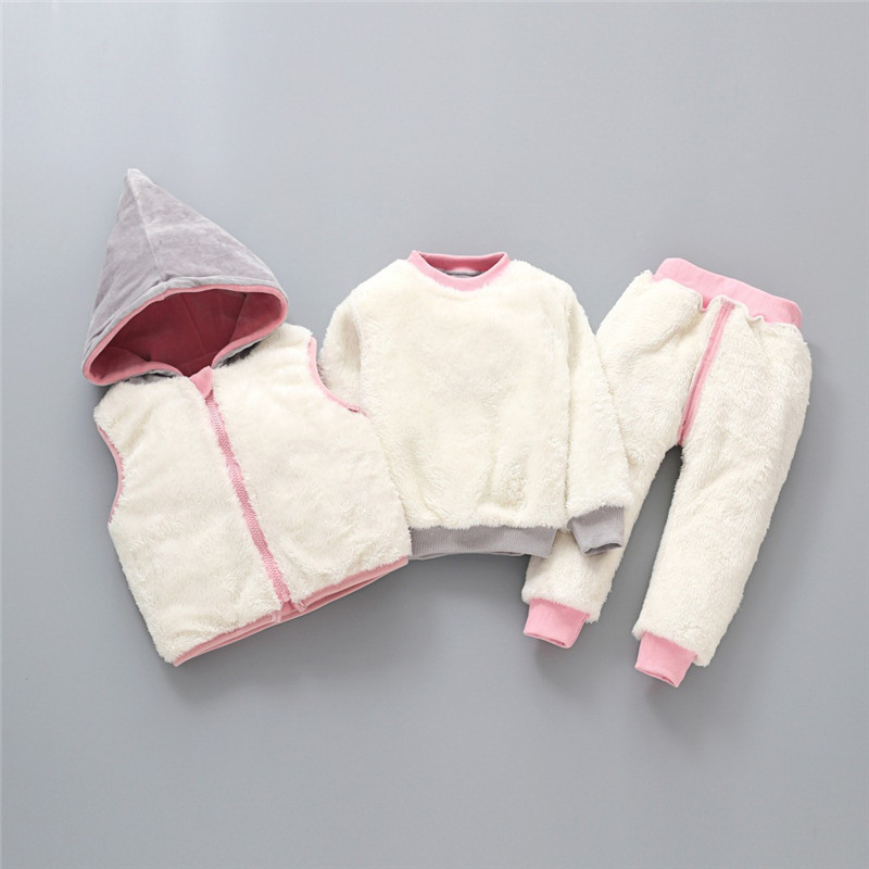 Children's Clothing Sets Winter Baby Girl Clothes Suit For Toddler Autumn Warm Hooded 3PCS Vest + Long Sleeves + pants 1-3 Year 4