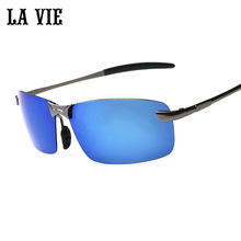LA VIE Brand Rimless Polarized Sunglasses Men Pilot super Cool coating Driving Sun Glasses Oculos de sol lunette soleil 3043