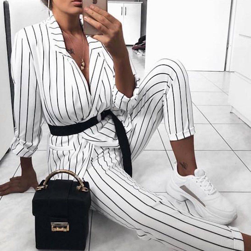 Tosheiny 2019 Women New Summer Sexy Striped Two Pcs Set Female Elegant   Jumpsuit   TH0062