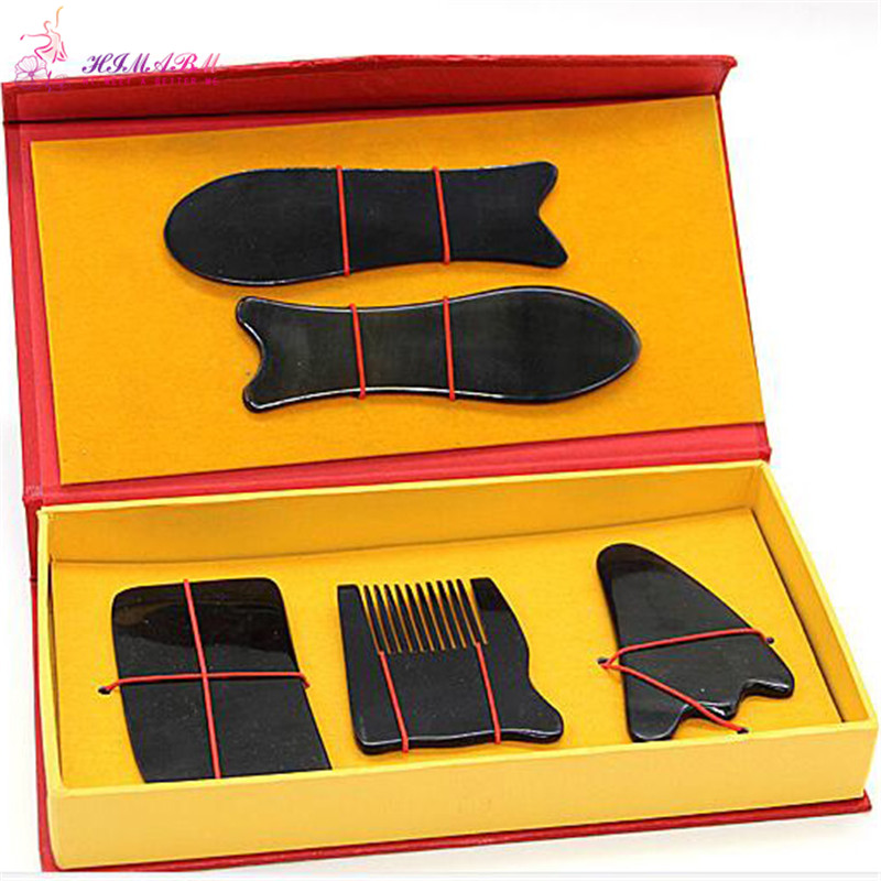 Купить с кэшбэком HIMABM Natural horn scraping board ox horn massage guasha board beauty face Scrapping plate for health beauty