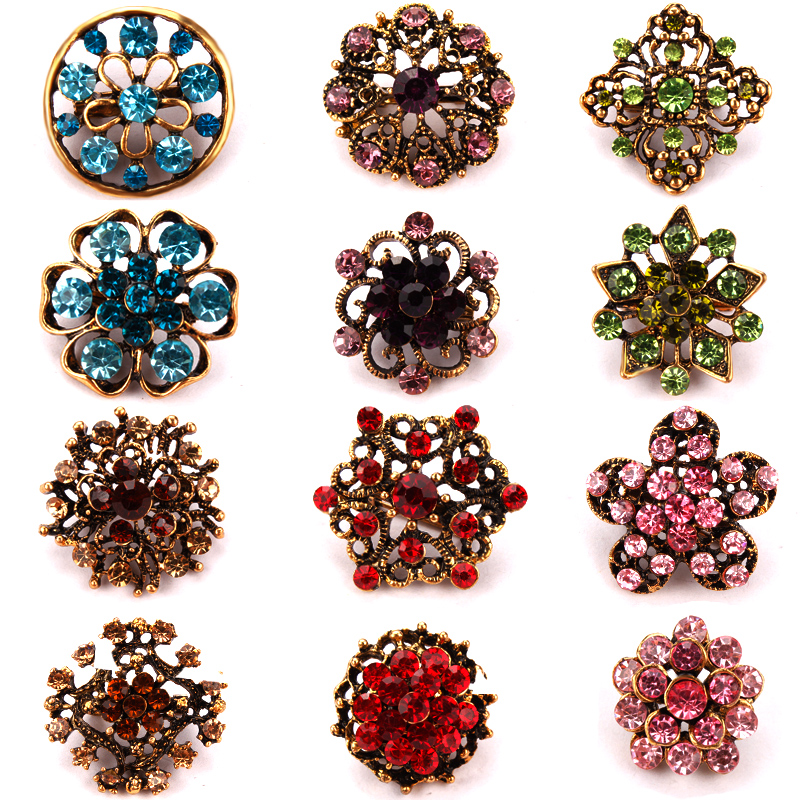 Antique Gold Color Plated Color Crystal Rhinestones Bijoux Small and Cute Brooch Lapel Pins