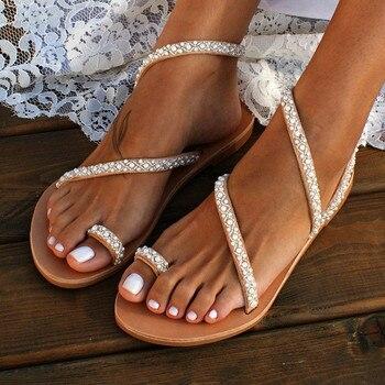 Beautiful Summer Flat Sandal Sweet Bling Bling Pearl Decoration Women Beach Shoe