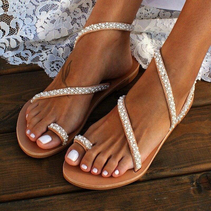Rechtdoorzee Tangnest Zomer Platte Sandalen Zoete Boho Pearl Decoratie Sandalen Vrouwen Strand Zand Vakantie Schoenen Lederen Flats Plus Size Xwz5959