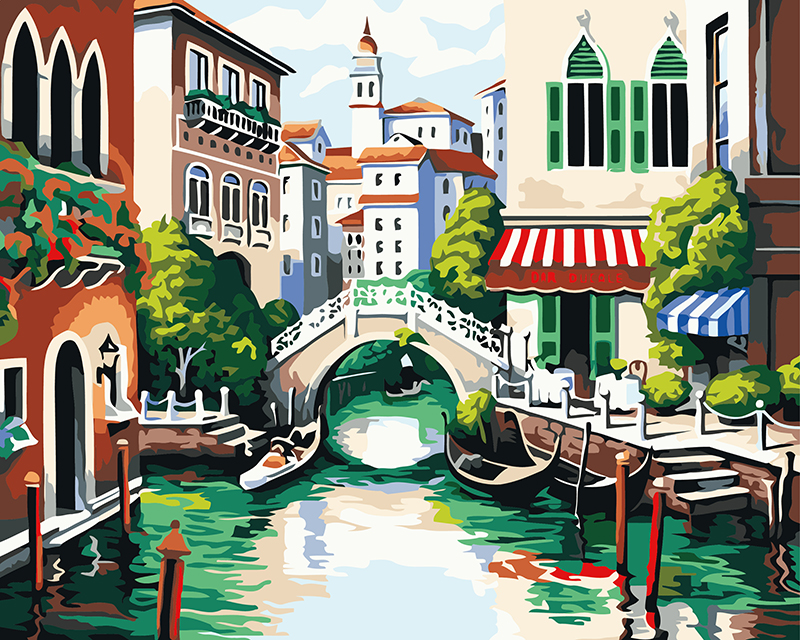 Rahmenlose bild auf wand acryl malerei durch zahlen zeichnung von zahlen einzigartige geschenk färbung durch zahlen Stadt 40X50 cm B160