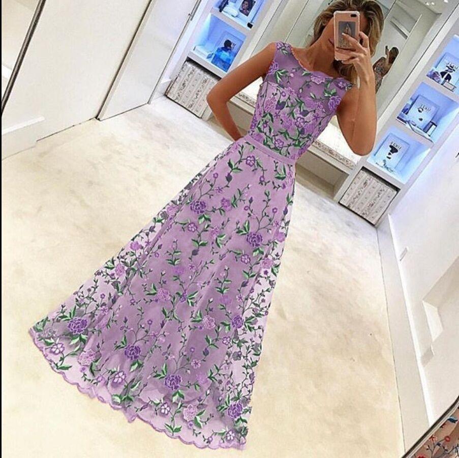 Femme Demoiselle Mariage Maxi Mode Kaki Broderie Manches Nouveau Été D'honneur Luxe Costume Sans lavande 2017 De Robe Soirée Boule tq1pxC