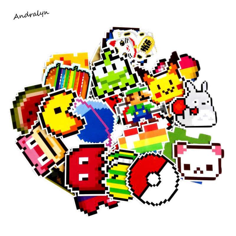 25 pçs/lote Dos Desenhos Animados Mario Pixel Estilo Etiqueta Para Laptop Bagagem Skate Mochila Caso Tabelas Decalque Crianças Brinquedo Do Carro Adesivo