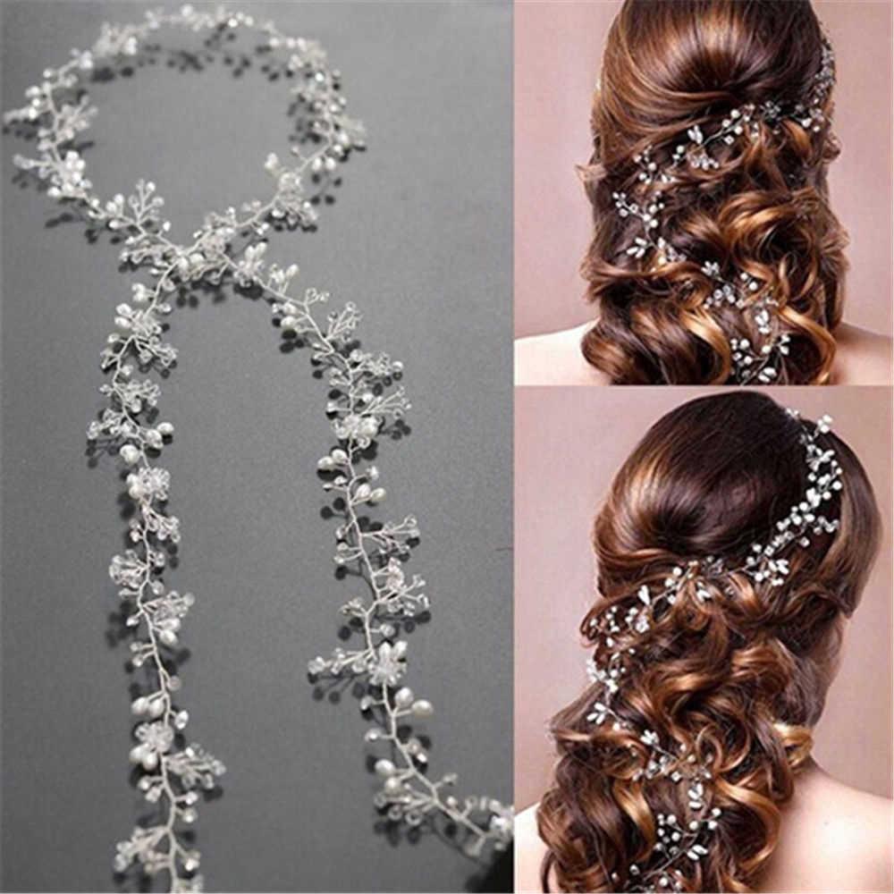 2019 ブライダルウェディングクリスタル花嫁のヘアアクセサリーパールフラワーヘッドハンドメイドヘアバンドビーズ装飾毛の櫛