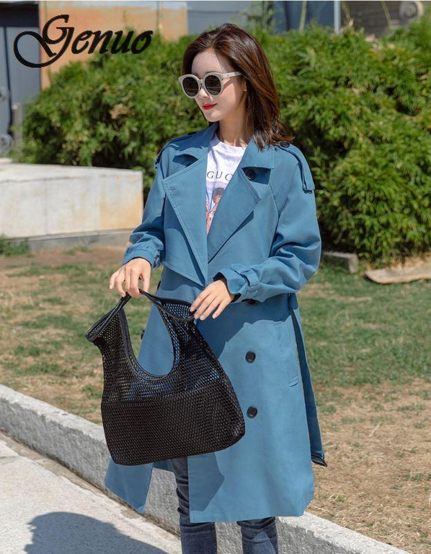 Windbreaker Female 2019 Spring Autumn new Korean leisure chic loose ladies harbor wind Long   Trench   Coat for women blue