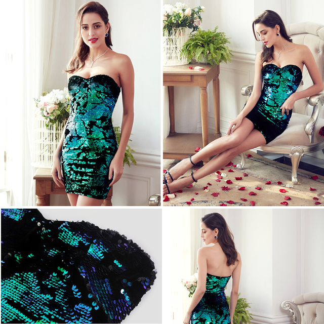Cocktail Dresses Ever Pretty EP05823MC Luxurious Velvet Sequin Sparkle Style 2018 Sweetheart Strapless Mini Short Party Dress Cocktail Dresses