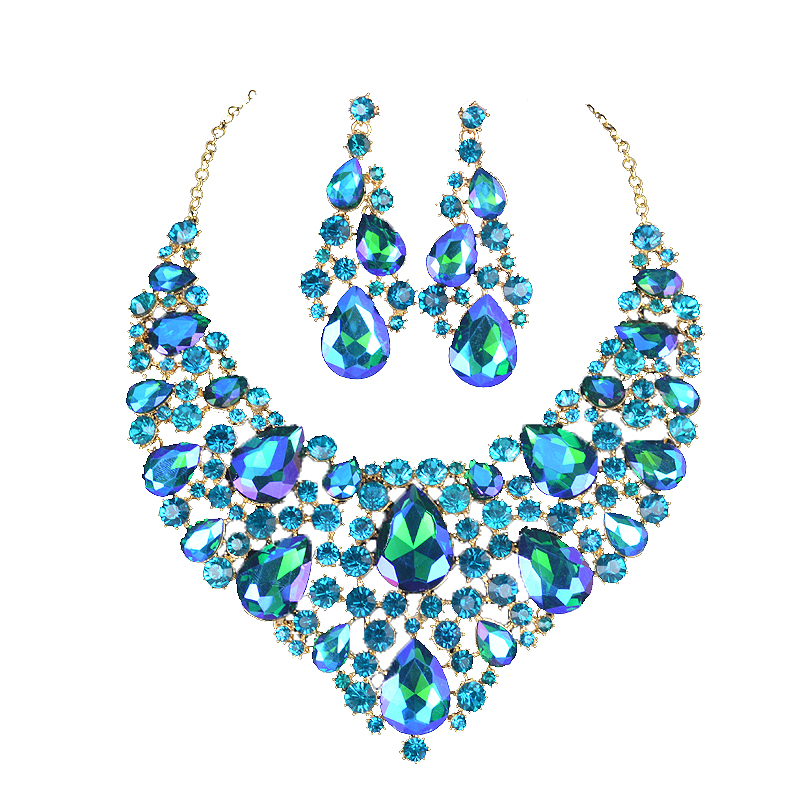 Fashion Shining blue AB Crystal Bridal Jewelry Sets Wedding Party Gold Silver Plated Earrings and Necklace Set Gifts for WomenFashion Shining blue AB Crystal Bridal Jewelry Sets Wedding Party Gold Silver Plated Earrings and Necklace Set Gifts for Women